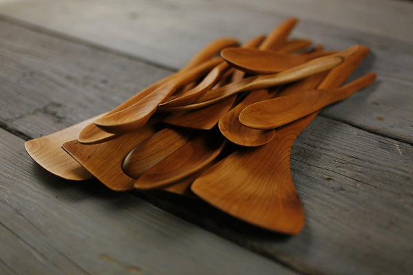 321. Handmade wooden spoon carved out of cherry wood. Handmade wooden utensils for the kitchen.
