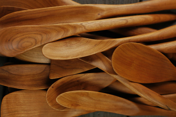 315. Handmade wooden spoon carved out of cherry wood. Handmade wooden utensils for the kitchen.