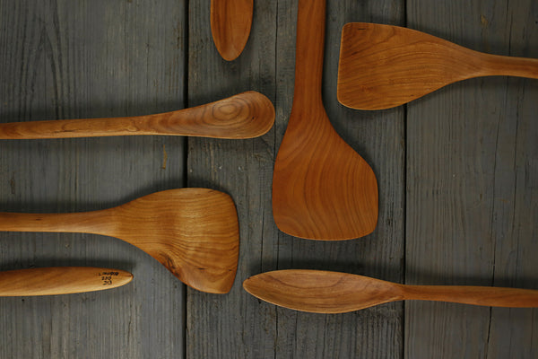 310. Handmade wooden spatula carved out of cherry wood. Handmade wooden utensils for the kitchen.