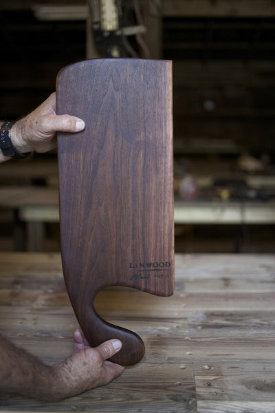 213. Handmade black walnut wooden cutting board with handle