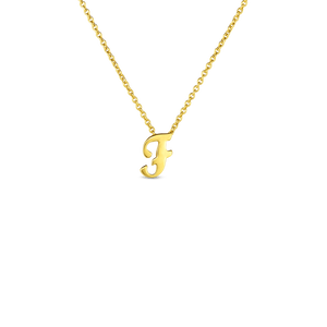 "Roberto Coin 18kt yellow gold Tiny Treasures small script inital ""F"" pendant on chain."