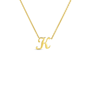 "Roberto Coin 18kt yellow gold Tiny Treasures small script inital ""K"" pendant on chain."