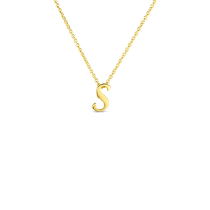 "Roberto Coin 18kt yellow gold Tiny Treasures small script inital ""S"" pendant on chain."