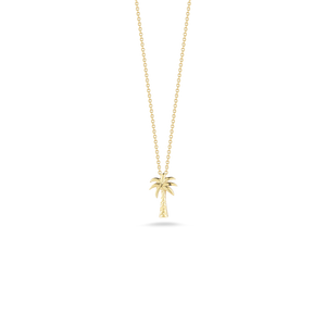 Roberto Coin 18 karat yellow gold Tiny Treasures tiny palm tree pendant with chain