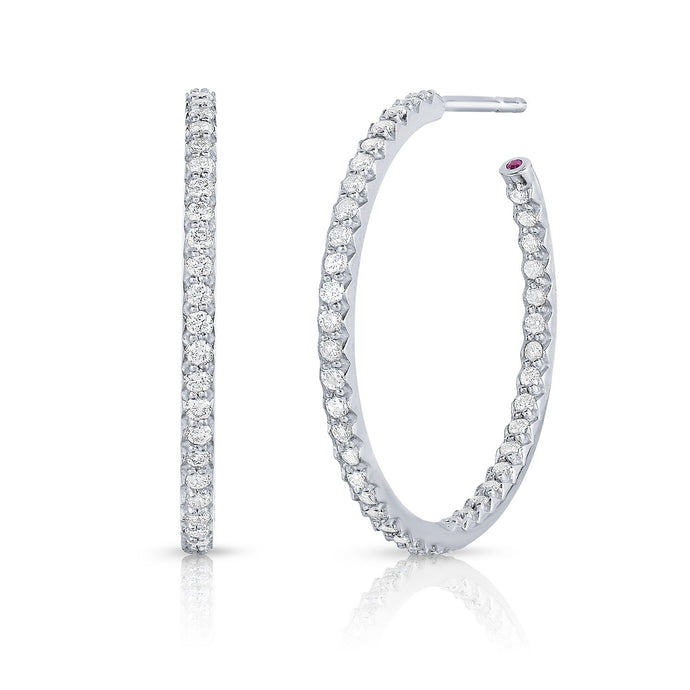 Roberto Coin 18 karat white gold In/Out small diamond 25mm hoop, D=0.80tw