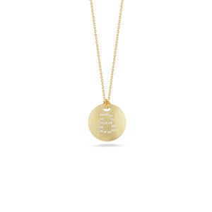"Roberto Coin 18 karat yellow gold Tiny Treasures disc diamond initial ""B"" pendant on chain, D=0.05tw"