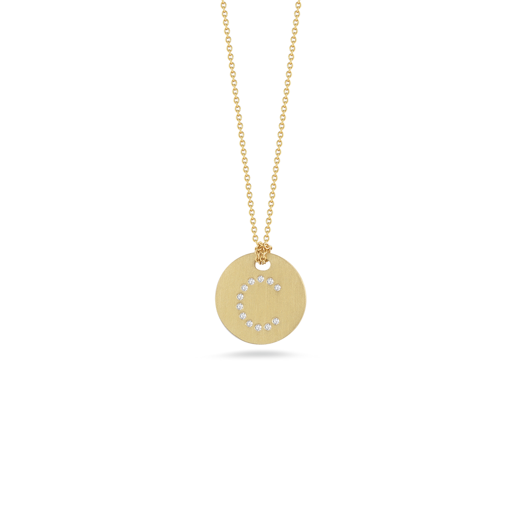 Roberto Coin 18 karat yellow gold Tiny Treasures disc diamond initial