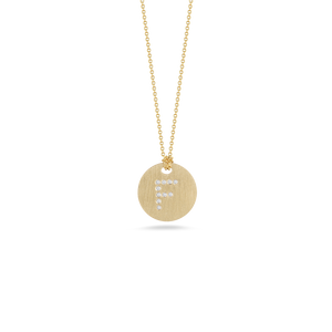 "Roberto Coin 18 karat yellow gold Tiny Treasures disc diamond initial ""F"" pendant on chain, D=0.03tw"