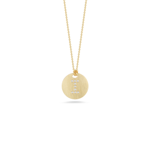 "Roberto Coin 18 karat yellow gold Tiny Treasures disc diamond initial ""I"" pendant on chain, D=0.03tw"