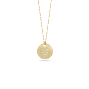 "Roberto Coin 18 karat yellow gold Tiny Treasures disc diamond initial ""U"" pendant on chain, D=0.05tw"