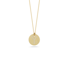 "Load image into Gallery viewer, Roberto Coin 18 karat yellow gold Tiny Treasures disc diamond initial ""Y"" pendant on chain, D=0.04tw"