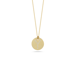 "Roberto Coin 18 karat yellow gold Tiny Treasures disc diamond initial ""Y"" pendant on chain, D=0.04tw"