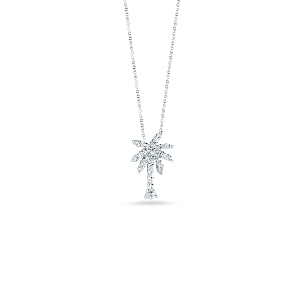 Roberto Coin 18 karat white gold Tiny Treasures small diamond palm tree pendant on chain, D=0.19tw