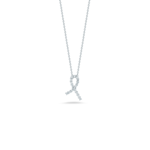 Roberto Coin 18 karat white gold Tiny Treasures diamond Hope Ribbon pendant on chain, D=0.09tw