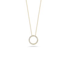Load image into Gallery viewer, Roberto Coin 18 karat white gold Tiny Treasures x-small 11mm diamond circle pendant on chain, D=0.09tw