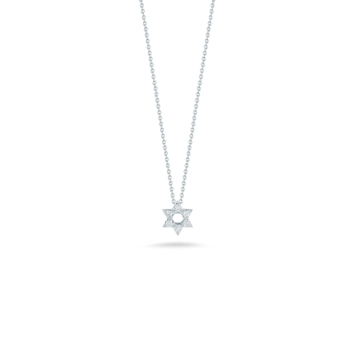 Roberto Coin 18 karat white gold diamond star of david pendant 16-18