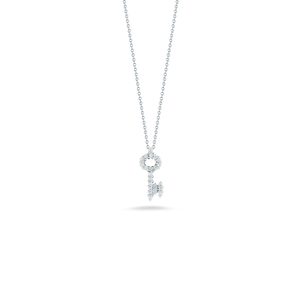 "Roberto Coin 18 karat white gold Tiny Treasures diamond key pendant 16-18"", D=0.23tw"