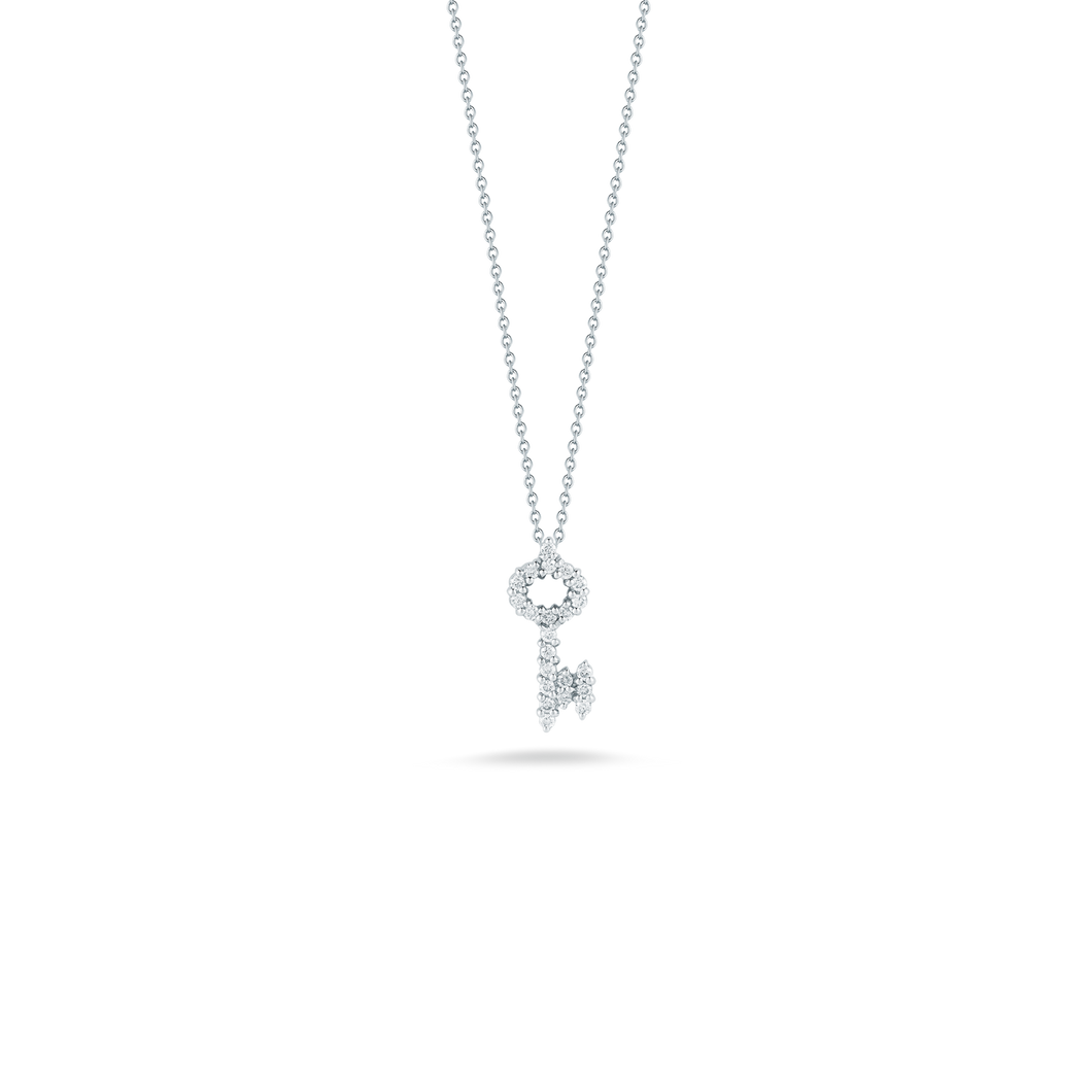 Roberto Coin 18 karat white gold Tiny Treasures diamond key pendant 16-18