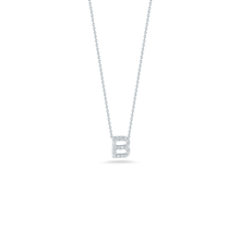 "Load image into Gallery viewer, Roberto Coin 18 karat white gold Tiny Treasures diamond block Love Letter ""B"" pendant 16-18"",  D=0.08tw"