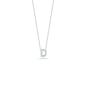 "Roberto Coin 18 karat white gold Tiny Treasures diamond block Love Letter ""D"" pendant 16-18"",  D=0.06tw"