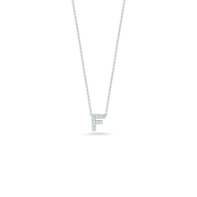 "Load image into Gallery viewer, Roberto Coin 18 karat white gold Tiny Treasures diamond block Love Letter ""F"" pendant 16-18"",  D=0.05tw"