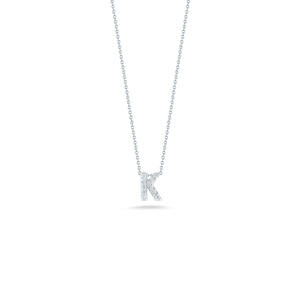 "Roberto Coin 18 karat white gold Tiny Treasures diamond block Love Letter ""K"" pendant 16-18"",  D=0.05tw"