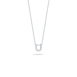"Roberto Coin 18 karat white gold Tiny Treasures diamond block Love Letter ""U"" pendant 16-18"",  D=0.06tw"