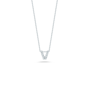 "Roberto Coin 18 karat white gold Tiny Treasures diamond block Love Letter ""V"" pendant 16-18"",  D=0.05tw"