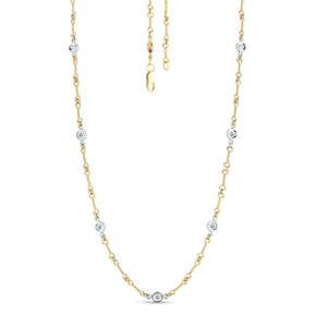"Roberto Coin 18 karat yellow and white gold diamond by the inch 7 station dog bone necklace 16"", D=0.28tw"