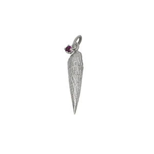 "01 January ""Birthshell"": Sterling Silver Charm: The Auger Shell with Garnet"