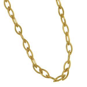 "18K Yellow Gold 24"" 4.3mm Hand Made Marquise Oval Link Necklace"