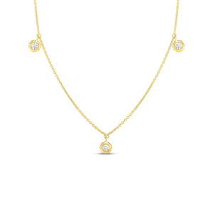 "Roberto Coin 18 karat yellow gold diamond by the inch 3 station dangle necklace 16-18"", D=0.13tw"