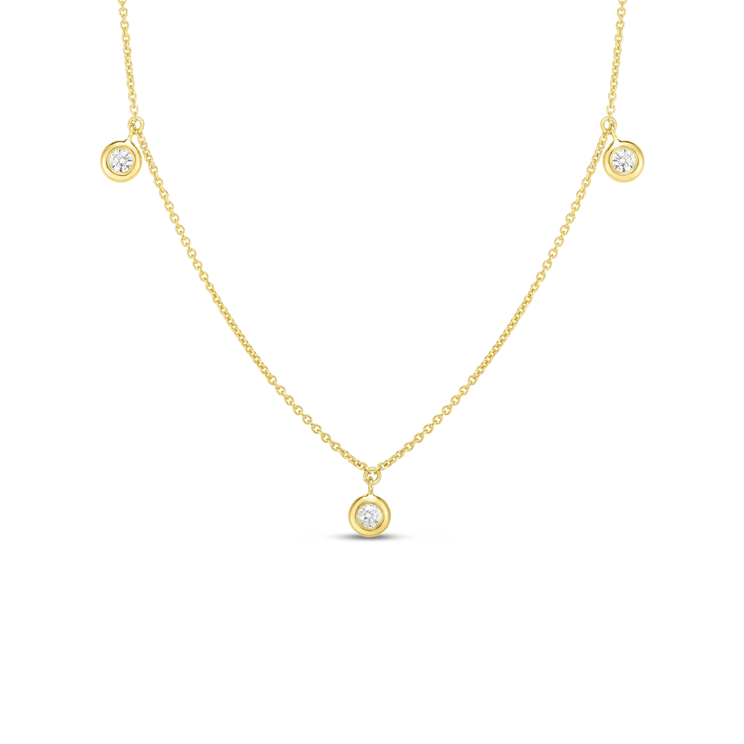 Roberto Coin 18 karat yellow gold diamond by the inch 3 station dangle necklace 16-18