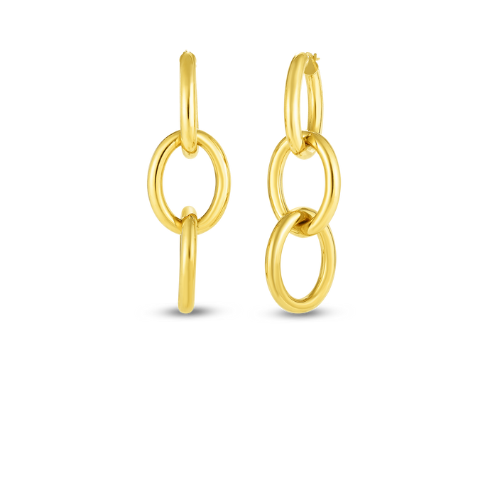 Roberto Coin 18 karat yellow gold 3 oval drop earrings