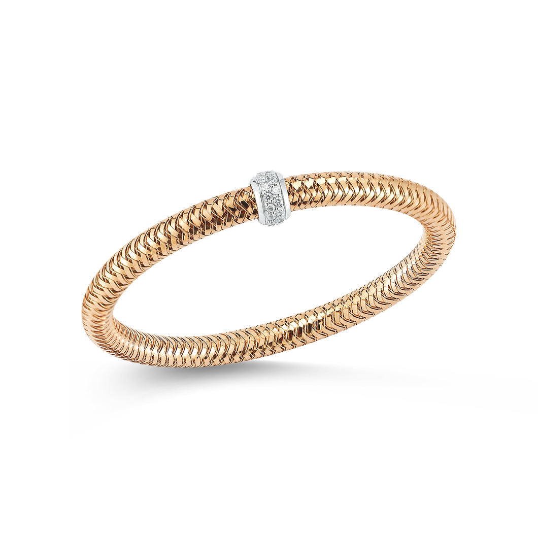 Roberto Coin 18 karat rose gold diamond primavera flexible roll on bangle bracelet, D=0.22tw