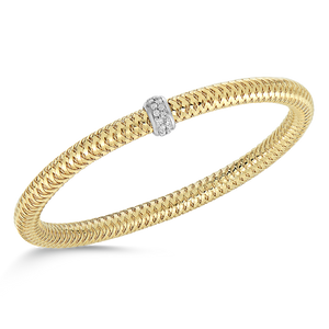 Roberto Coin 18 karat yellow and white gold diamond primavera flexible roll on bangle bracelet, D=0.22tw