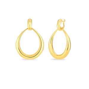 Roberto Coin 18 karat yellow gold Oro Classic contured graduated modern door knocker earrings