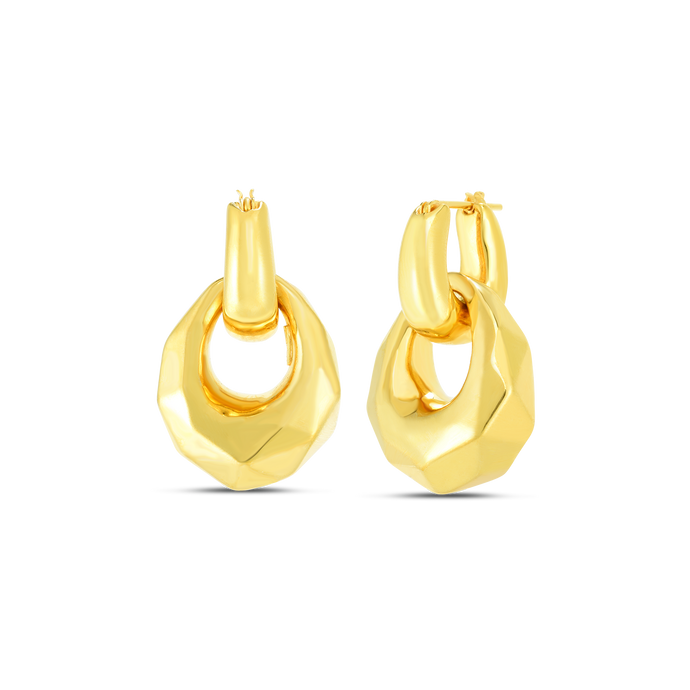Roberto Coin 18 karat yellow gold Oro Classic faceted door knocker earrings