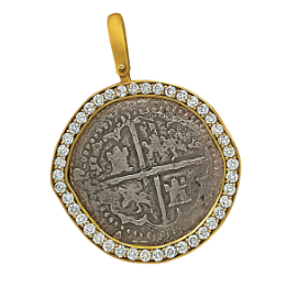 14 K Yellow Gold Bezeled Grade One Atocha Shipwreck Spanish 2 Reale Coin with Diamond Halo Pendant, D=1.23tw