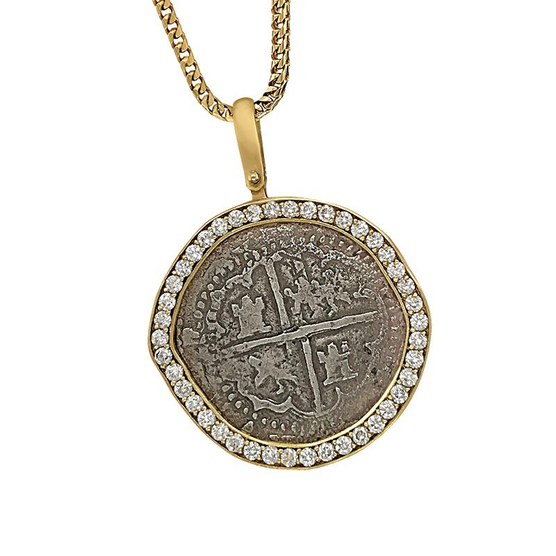 Atocha 2 Reale Coin set in Custom 14 Karat Yellow Gold Full Diamond Bezel Pendant