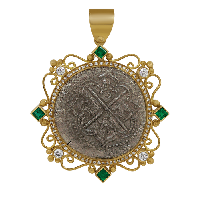 18 Karat Yellow Gold Intricate Bezel Grade One Atocha Shipwreck Spanish 2 Reale Coin Pendant with Emeralds and Diamonds Pendant