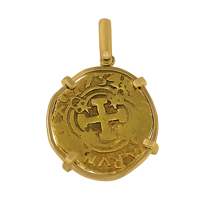 18 Karat Yellow Gold Bezel 2 Escudo Spanish Coin Pendant