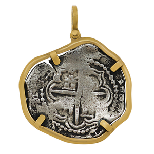 14 K Yellow Gold 2 Reale Grade 1 Spanish Coin Pendant