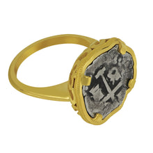 Load image into Gallery viewer, Spanish 1/2 Reale Coin set in Custom 14K Yellow Gold Ring, Size 6.75