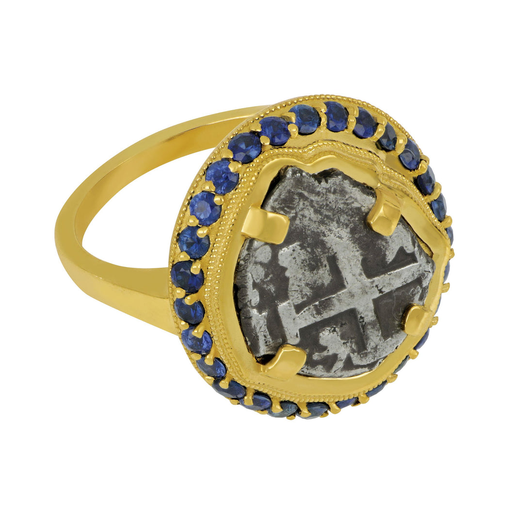 Spanish 1/2 Reale Coin set in Custom 14K Yellow Gold and Sapphire Bezel Ring, Size 7