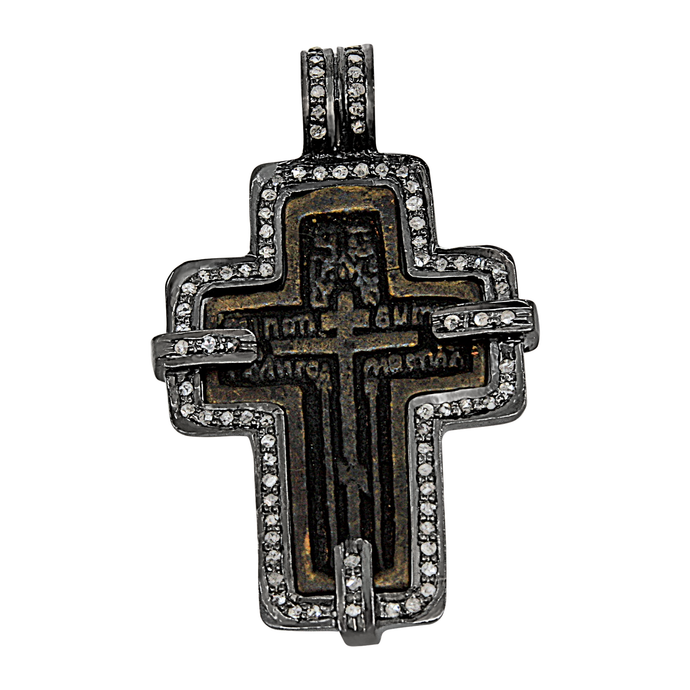 Sterling Silver 1740-1860 Russian Orthodox Brass Cross with Diamonds Pendant