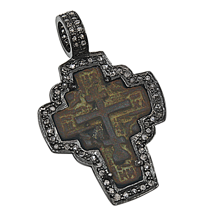 Sterling Silver 1680 Novgorod Russian Orthodox Cross with Diamonds Pendant
