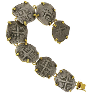 "2 Reale Princess Louis Coins set in Custom 14K Yellow Gold Bezel 7"" Bracelet"