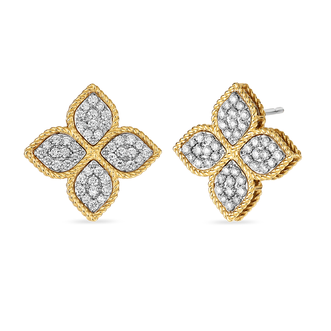 Roberto Coin 18 karat yellow and white gold Large Princess Flower Diamond Post earrings, D=0.90tw