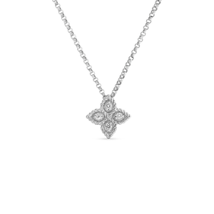 "Roberto Coin 18 karat white Small Princess Flower Diamond Pendant 16-18"", D=0.04tw"